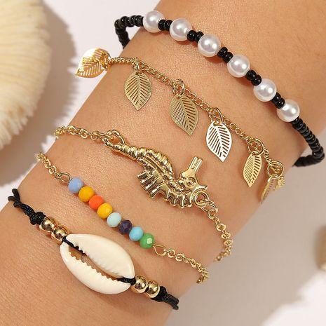Bohème tissé riz perle costume bracelet créatif mode laisse à la main cinq hippocampes bracelets en gros nihaojewelry NHLA230832's discount tags
