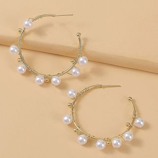 moda geométrica hecha a mano de perlas en forma de C pendientes de moda pendientes tejidos al por mayor nihaojewelry NHLA230833's discount tags