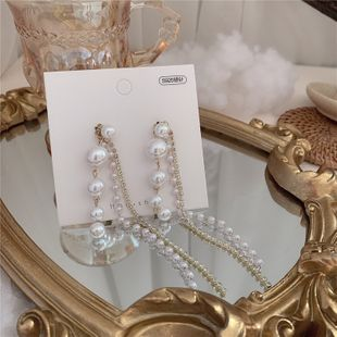 fashion simple  S925 silver needle size pearl rhinestone chain tassel earrings wholesale nihaojewelry NHYQ230835's discount tags