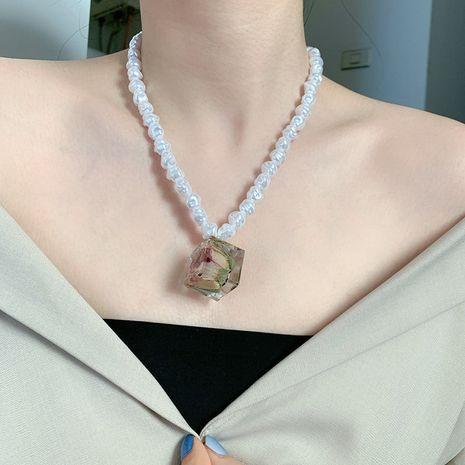 fait à la maison exagéré collier perle carré sol fleur séchée immortelle fleur combinaison boucle d'oreille anneau en gros nihaojewelry NHYQ230839's discount tags