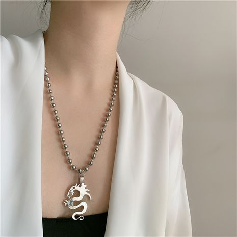 Dark vintage retro dragon totem pendant necklace clavicle chain punk wholesale nihaojewelry NHYQ230841's discount tags