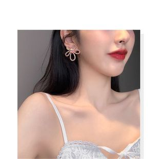 South Korea new 925 silver needle color rhinestone peach blossom  flower earrings wholesale nihaojewelry NHYQ230850's discount tags