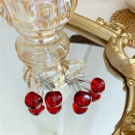 Cerise coréenne simple mignon fille coeur affichage boucles d'oreilles cerise noire pendentif en gros nihaojewelry NHYQ230851's discount tags