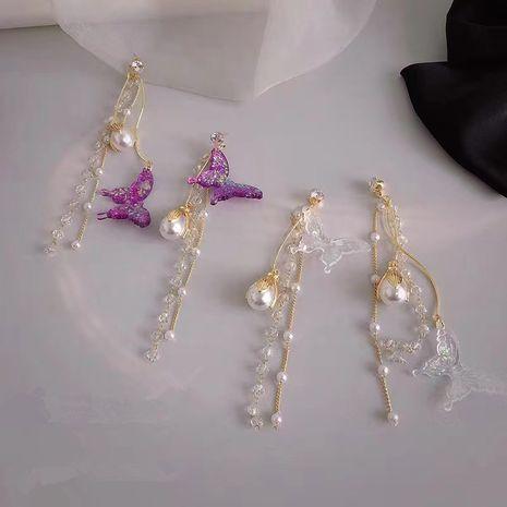 Boucles d'oreilles gland violet papillon longues boucles d'oreilles coréennes rétro boucles d'oreilles perles asymétriques en gros nihaojewelry NHYQ230857's discount tags