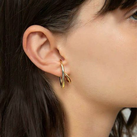 cool minimalist style celi three-dimensional streamline exaggerated double-row real gold metal earrings wholesale nihaojewelry NHYQ230867's discount tags