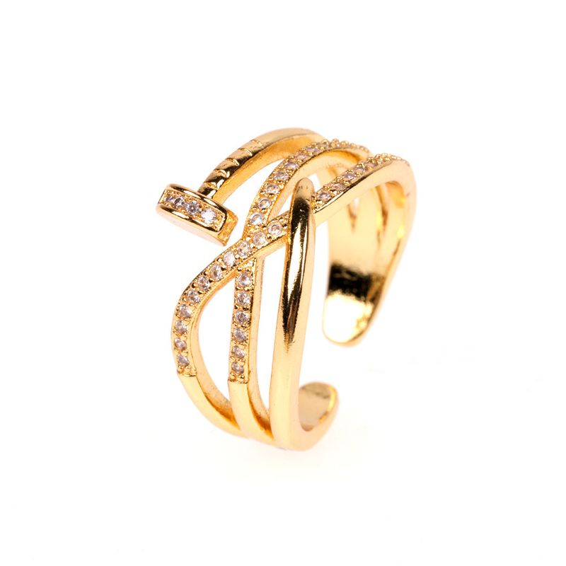trendy fashion nail zircon ring exaggerated opening ring wholesale nihaojewelry NHPY230870