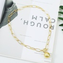 fashion alloy lock heart necklace pendant  clavicle chain hot sale wholesale nihaojewelry NHJJ230884