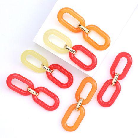 Mode minimaliste géométrique plaque d'acétate chaîne simple boucles d'oreilles rétro en gros nihaojewelry NHJE230895's discount tags