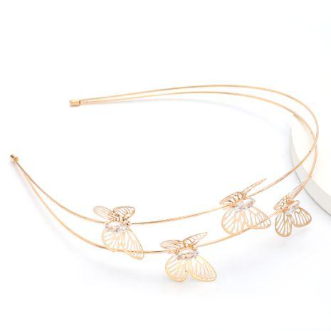 Korean Department Sweet Alloy Diamond Butterfly Korea Hairband Super Fairy Elegant Double Headband wholesale nihaojewelry NHJE230897's discount tags