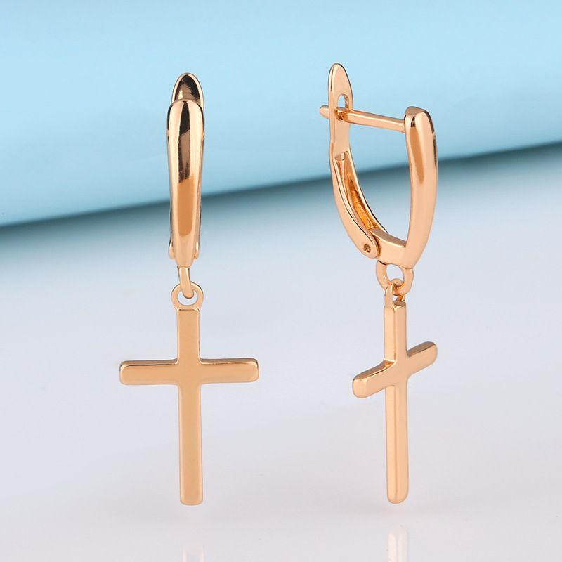 Simple geometric cross ear drop earrings ear jewelry hypoallergenic ear buckle wholesale nihaojewelry NHAS230908