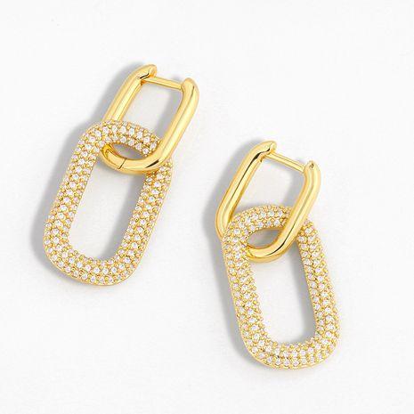 Nuevos pendientes geométricos de doble anillo de bloqueo pendientes de diamantes creativos pendientes simples de hip-hop al por mayor nihaojewelry NHAS230911's discount tags