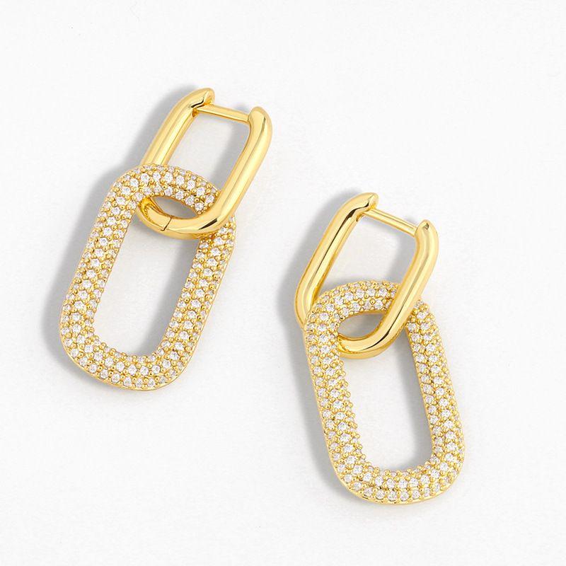 new geometric double ring lock earrings creative diamond earrings simple hip-hop earrings wholesale nihaojewelry NHAS230911