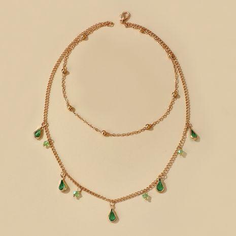 petit bijoux simple mode vert diamant goutte goutte collier alliage chaîne strass collier en gros nihaojewelry NHGY230921's discount tags