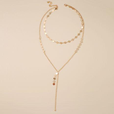 simple mode paillettes à la main disque gland collier chaîne de clavicule en gros nihaojewelry NHGY230923's discount tags