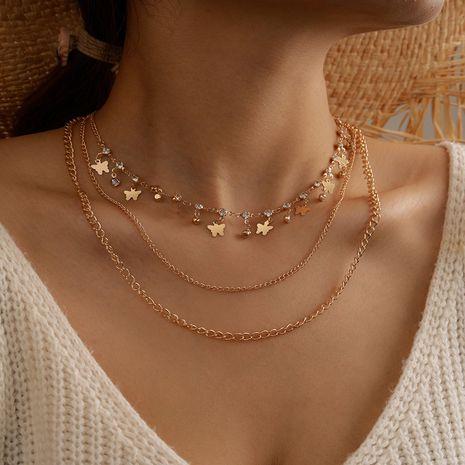 accessoires nouveau multi-couche mode chaîne de cou créatif micro-ensemble petit papillon pendentif collier en gros nihaojewelry NHGY230925's discount tags