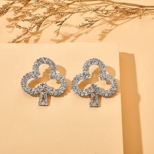 new fashion set rhinestone alloy playing cards plum earrings wholesale nihaojewelry NHGY230927's discount tags