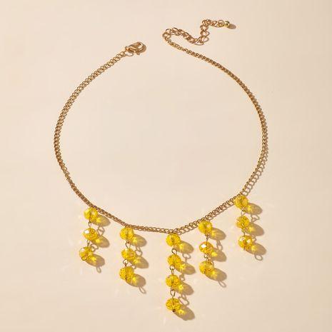 boho rétro cristal jaune collier de gland perlé exagéré collier de style ancien en gros nihaojewelry NHGY230928's discount tags