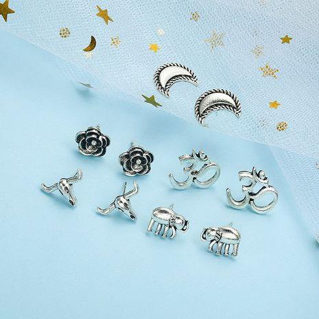 vente chaude simple alliage de mode boucles d'oreilles en or anciennes rétro ethnique vent lune boucles d'oreilles en gros nihaojewelry NHPF230932's discount tags