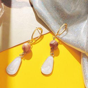 Bijoux de mode coréenne de haute qualité brun boucles d'oreilles en coquille naturelle géométrique mat longues boucles d'oreilles en gros nihaojewelry NHPF230935's discount tags