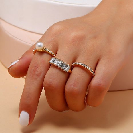 Fashion trend diamond-set combination ring new 3 piece set pearl ring wholesale nihaojewelry NHKQ230936's discount tags