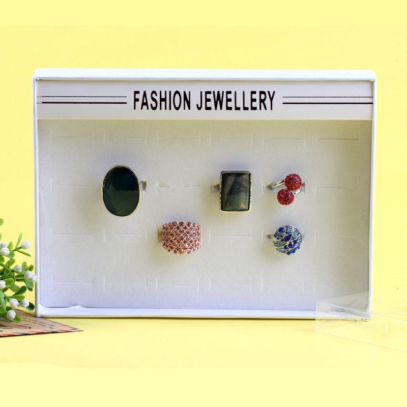 Shop display box 24 hole ring display box transparent world cover carton wholesale nihaojewelry NHKQ230942