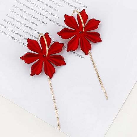 Korean red flower tassel earrings exaggerated simple long super fairy earrings wholesale nihaojewelry NHXI230979's discount tags