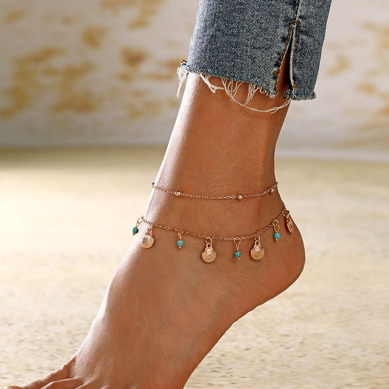 new women's handmade shell turquoise anklet fashion jewelry wholesale wholesale nihaojewelry NHXI230987
