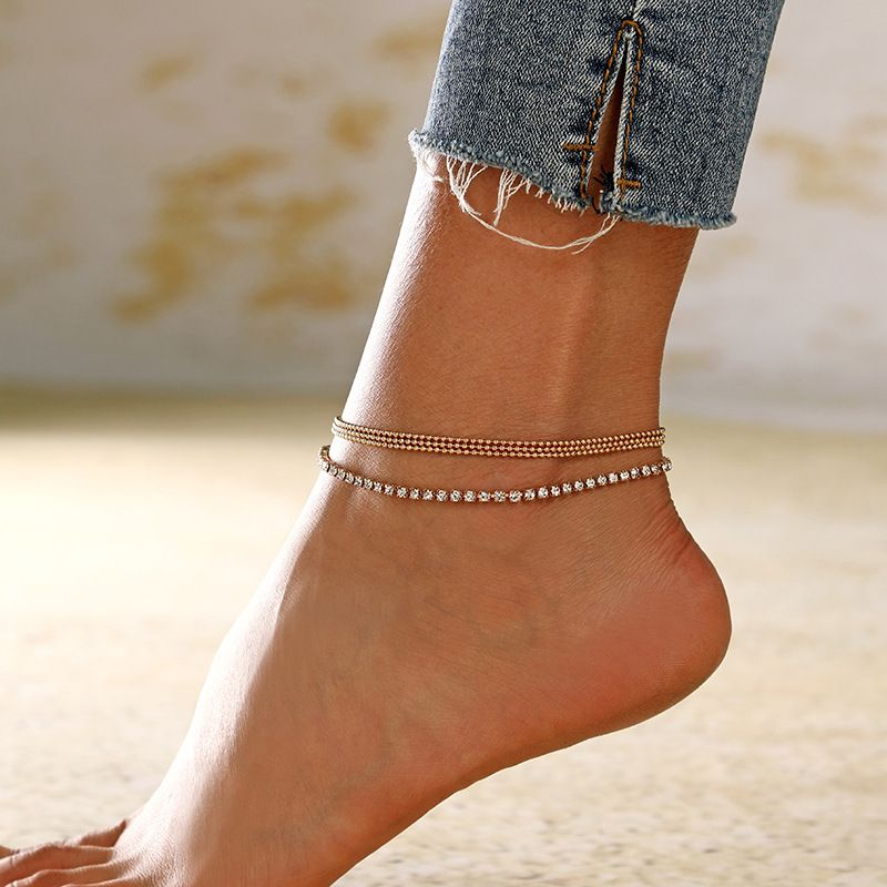 ladies new simple multi-layer chain rhinestone claw chain anklet boutique bead chain jewelry pendant anklet wholesale nihaojewelry NHXI230988