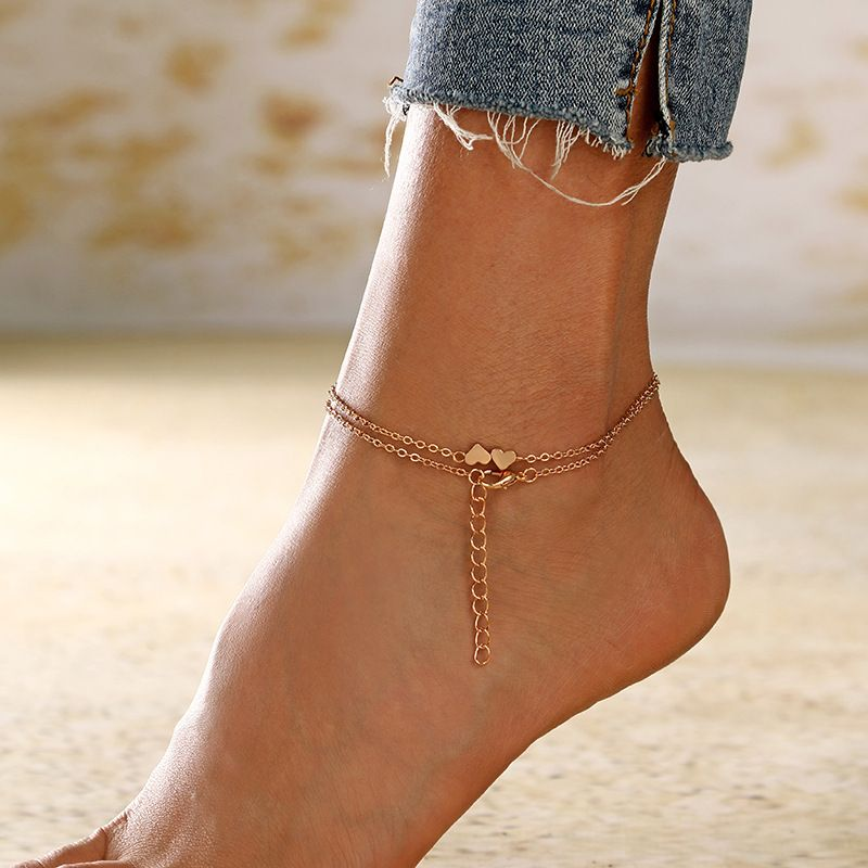 Summer hot sale jewelry new footwear love heart-shaped anklet wholesale nihaojewelry NHXI230998