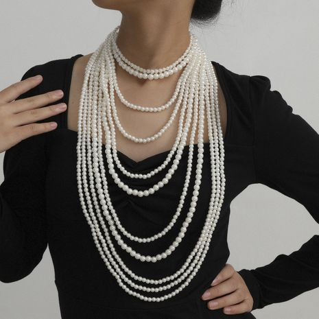 fashion jewelry imitation pearl tassel necklace exaggerated suit handmade beaded geometric necklace wholesale nihaojewelry NHXR231005's discount tags