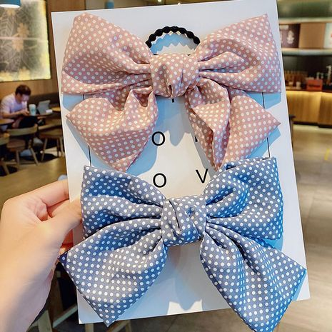 New  fashion cute bow hairpin cloth art wave point hairpin  wholesale nihaojewelry NHNA231009's discount tags