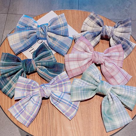 korean hot selling fashion cute Girl plaid big bow hairpin   wholesale nihaojewelry NHNA231010's discount tags