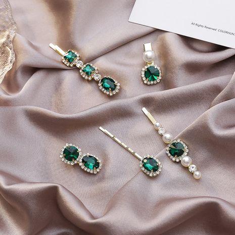 simple retro green hairpin word clip Korean rhinestone hair clip wholesale nihaojewelry NHMS231017's discount tags