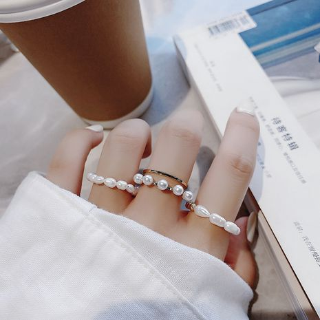 Natural pearl gentle Korean mix and match ring stacking ring three-piece set wholesale nihaojewelry NHMS231019's discount tags