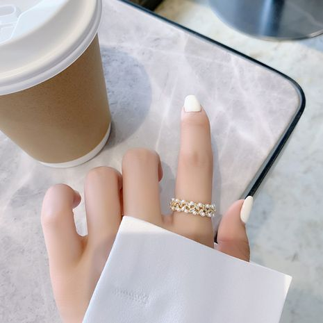 Korean fashion  multi-layer pearl rhinestone simple finger open ring wholesale nihaojewelry NHMS231022's discount tags