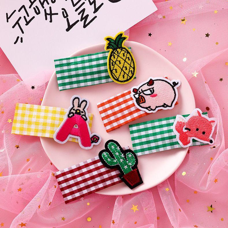 Korea cute fabric cartoon embroidery hairpin animal fruit sweet girl clip hair accessories wholesale nihaojewelry NHMS231041