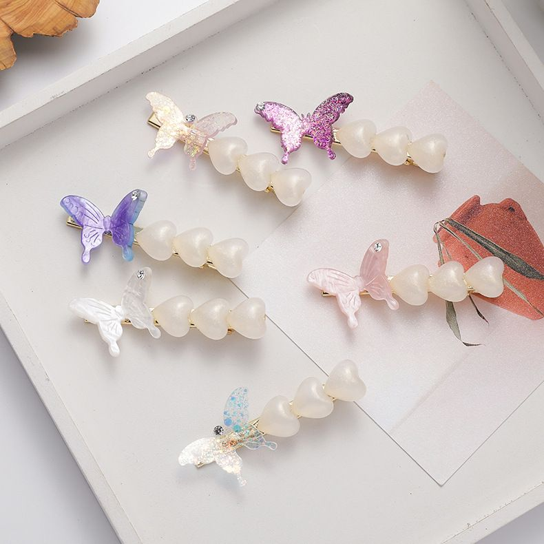 Girl butterfly love hair clip hairpin side clip sweet hair accessories wholesale nihaojewelry NHMS231057