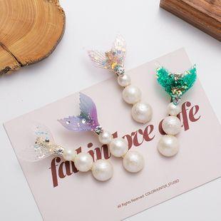 Mermaid Hairpin Rhinestone bangs clip pearl hairpin sweet side clip hair accessories wholesale nihaojewelry NHMS231065's discount tags