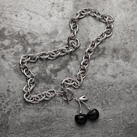 mode simple style Cerise Noire rétro cerise OT collier ras du cou en gros nihaojewelry NHMS231067's discount tags