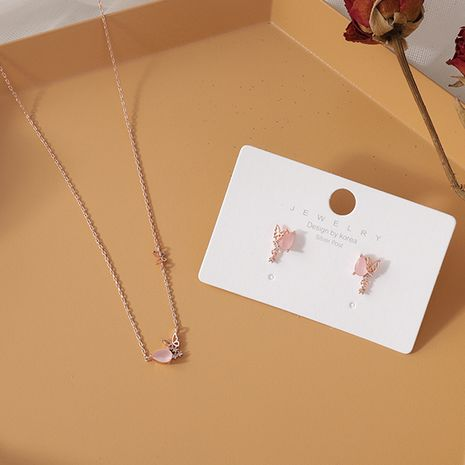 Sweet and simple pink jade micro-set zircon butterfly earrings 925 silver needle earrings necklace wholesale nihaojewelry NHMS231069's discount tags