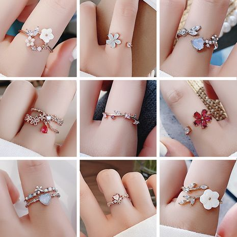 Korea fashion diamond crystal zircon flower ring micro inlaid sweet wild love flower ring wholesale nihaojewelry NHMS231074's discount tags