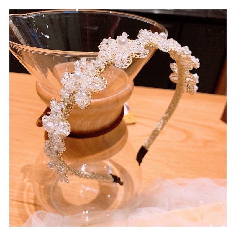 Korean original handmade rice grain pearl crystal mix  match bright flower headband  wholesale nihaojewelry NHHD231085