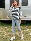fashion new simple  striped embroidery stitching Tshirt nihaojewelry wholesale NHDE234669