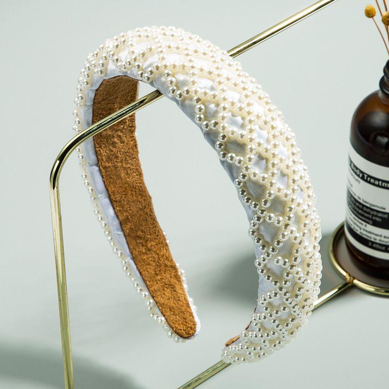 new  fashion  sponge handmade string pearl hair hoop ladies Korean style hair accessories wholesale nihaojewelry NHLN231138