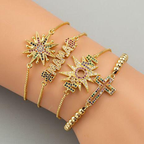 bijoux de mode couleur or créatif croix bracelet micro-ensemble zircon arc-en-ciel Bracelets en gros nihaojewelry NHLN231140's discount tags