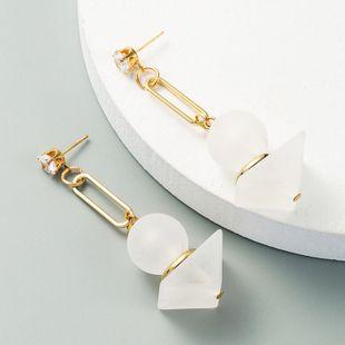 Corea nuevos pendientes largos blancos mate populares con incrustaciones geométricas salvajes pendientes de circón al por mayor nihaojewelry NHLN231141's discount tags