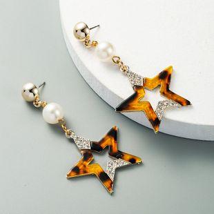 nouvelle mode créative multicouche creux cinq étoiles étoile boucles d'oreilles en perle alliage strass boucles d'oreilles exagérées en gros nihaojewelry NHLN231142's discount tags
