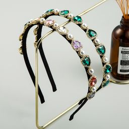 Korean retro palace style baroque inlaid rhinestone headband heart-shaped shiny headband wholesale nihaojewelry NHLN231145