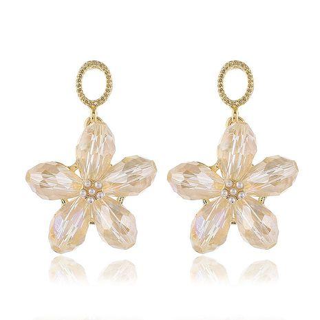 925 argent neddle poste mode métal cristal cinq feuilles fleur boucles d'oreilles en gros nihaojewelry NHSC231152's discount tags