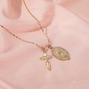 Retro Virgin Mary Double Pendant Necklace Crucifix Christian Cross Necklace  NHMO235886